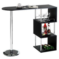 Table haute de bar vigando 3 tablettes mdf noir