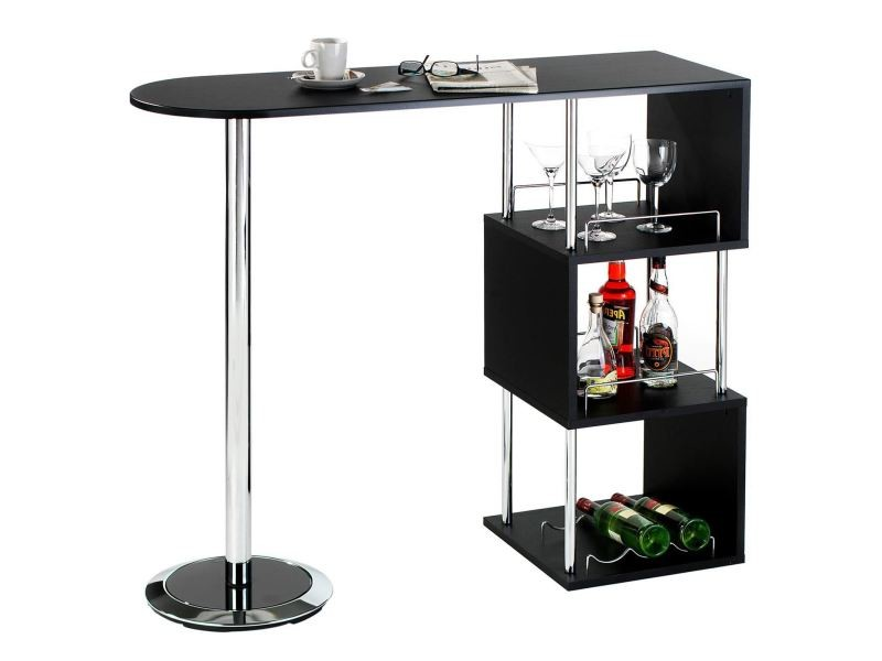 table haute de bar vigando mange debout comptoir et 3 tag res pi tement en m tal chrom et. Black Bedroom Furniture Sets. Home Design Ideas