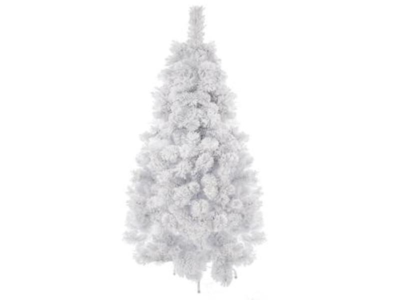 Sapin artificiel de noël en pvc et métal coloris blanc - dim : h150cm x 86cm