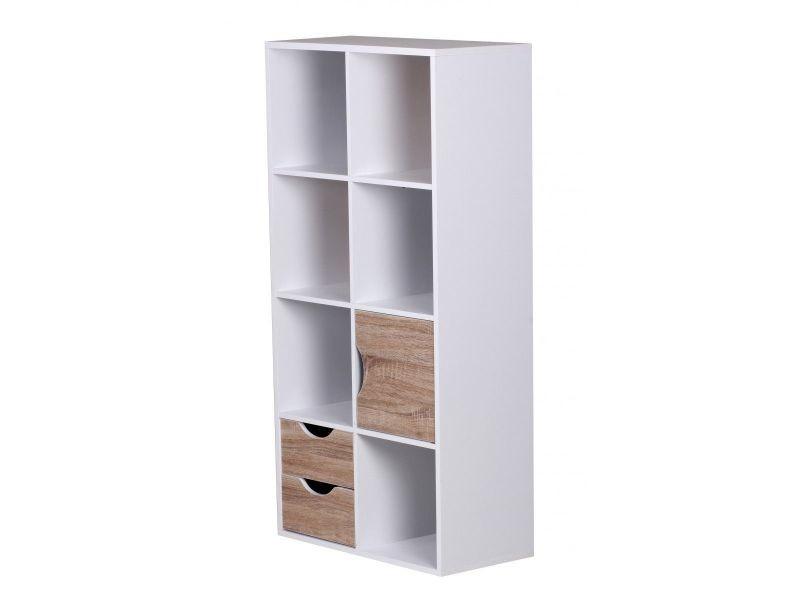Bibliothèque Avec Tiroirs Et Porte Coloris Blanc Conforama - Bibliothèque avec porte