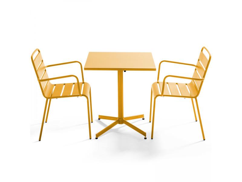 Table de jardin bistrot rabattable carrée en métal et 2 fauteuils palavas 2 places acier jaune