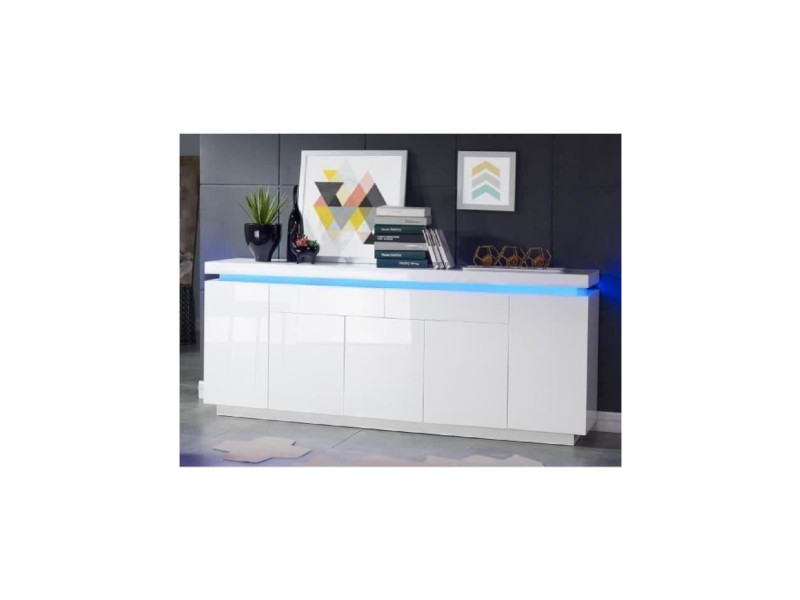 Flash buffet bas avec led contemporain blanc laqué brillant - l 206 cm FLASH23