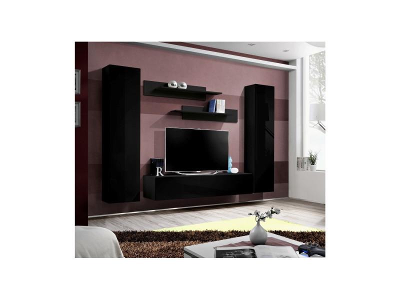 Ensemble meuble tv mural - fly i - 260 cm x 190 cm x 40 cm - noir