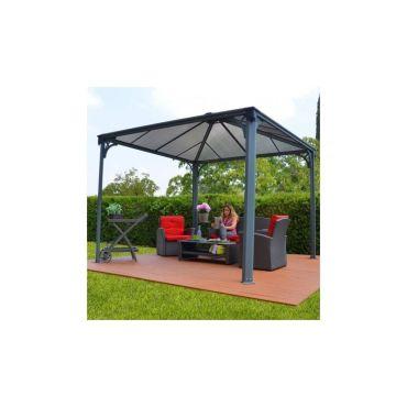 tonnelle de jardin 3 6x3 6m en alu gris anthracite et polycarbonate vente de pergola et auvent. Black Bedroom Furniture Sets. Home Design Ideas