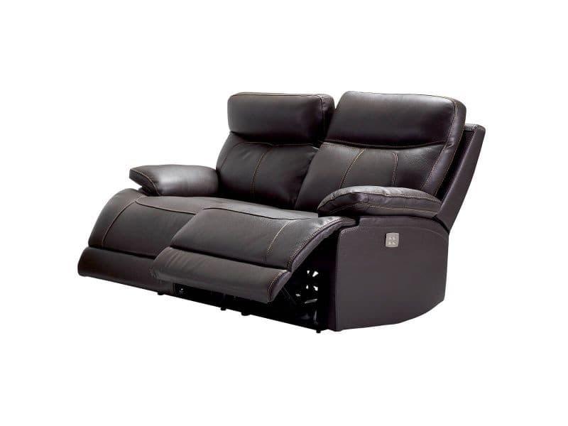 Cordoue - canapé relax electrique 2 places cuir marron
