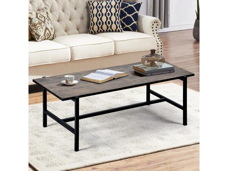 Life concept table basse industrielle moderne avec boîte en bois et métal cadre ouvert design grain de bois marron