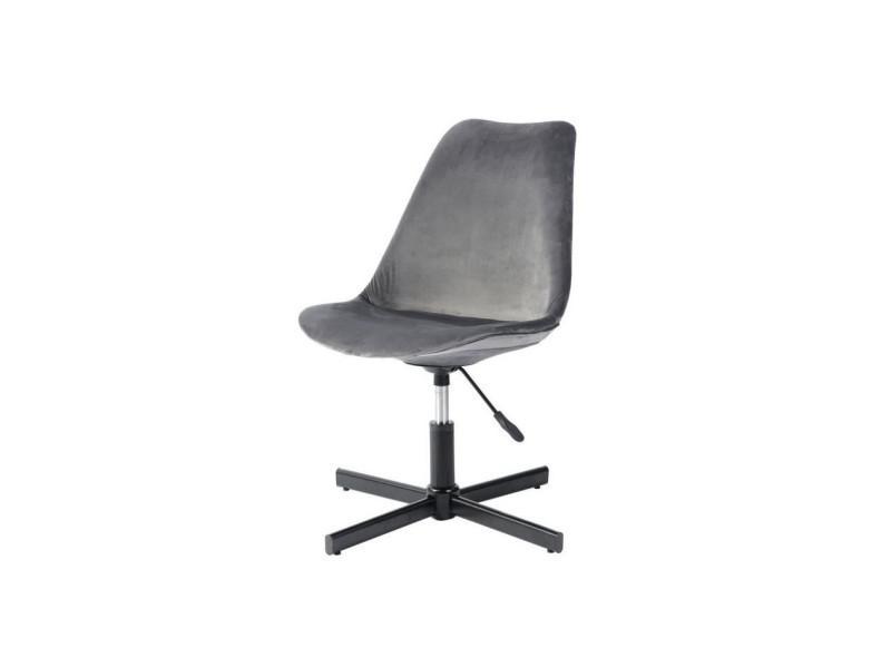 Mirek chaise de bureau tissu imitation velours gris style urbain