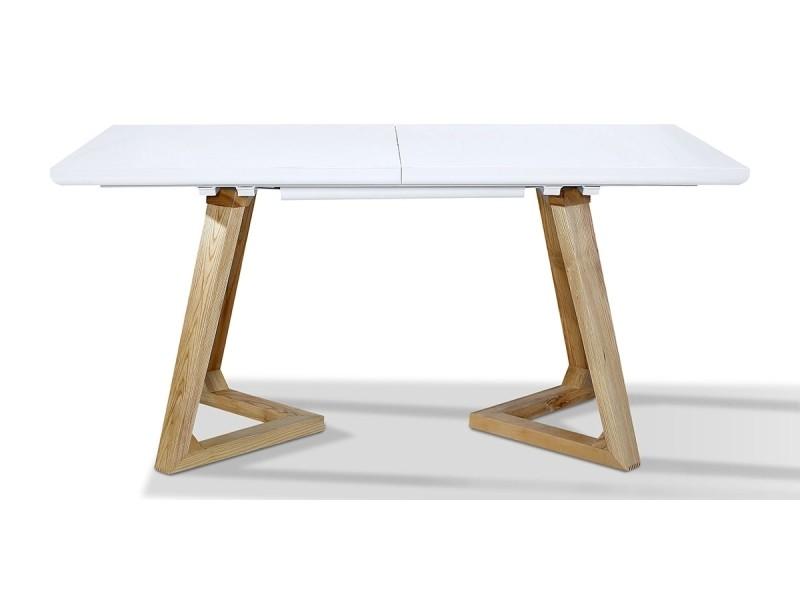Table à manger extensible bois/laqué dune - frêne/blanc -