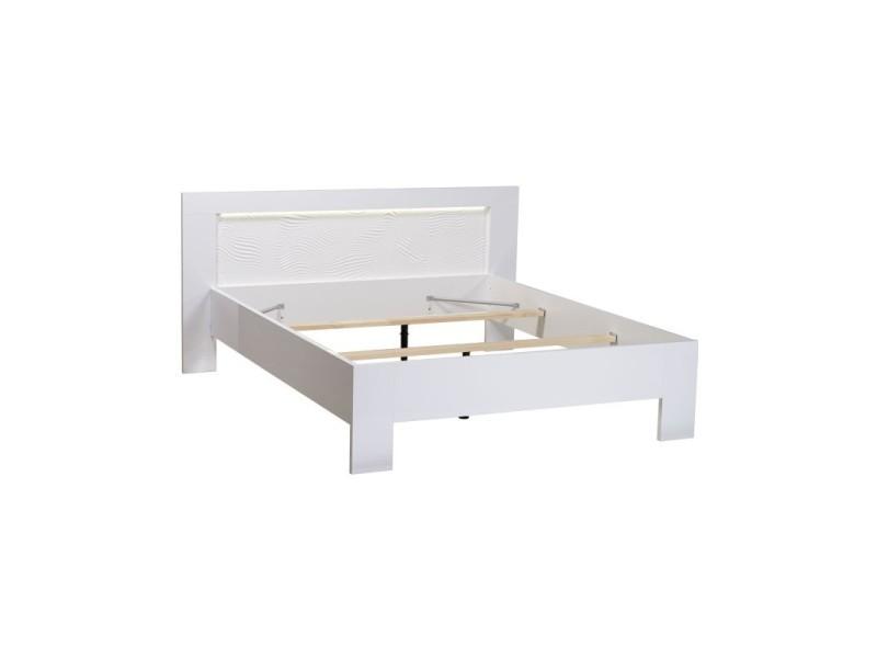 lit adulte cadre de lit t te de lit 140 190 laqu blanc senya 140 x 190 vente de lit. Black Bedroom Furniture Sets. Home Design Ideas
