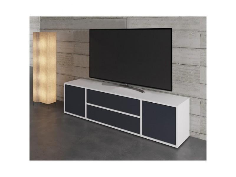 Meuble tv blanc mat et anthracite 154 cm