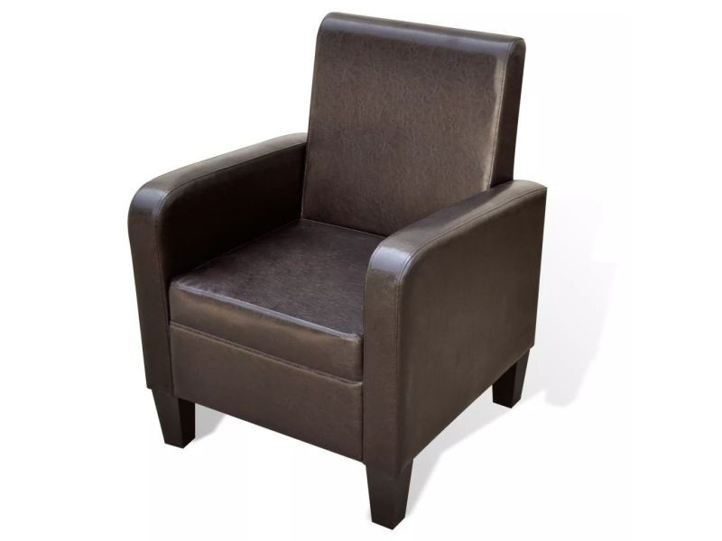 Fauteuil chaise siège lounge design club sofa salon cuir artificiel marron helloshop26 1102056/3