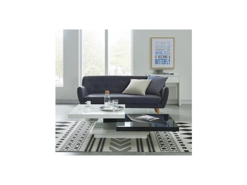 Tokyo table basse carree pivotante style contemporain laquee noir et blanc brillant - l 80 x l 80 cm