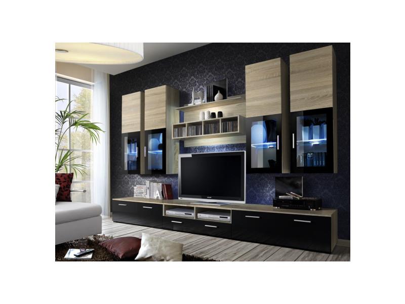 Ensemble meuble tv mural - lyra - 300 cm x 190 cm x 45 cm - chêne