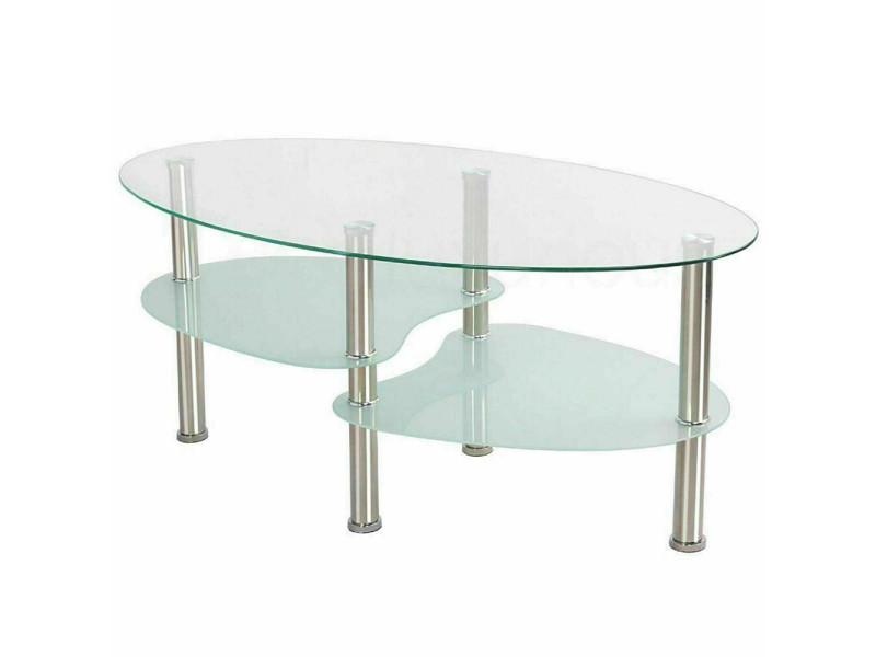 Table de salon table basse hombuy blanche en verre trempé (90*50*42cm)