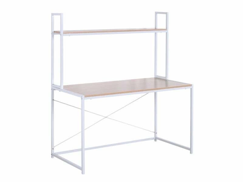 Bureau avec étagère au design pratique mdf cadre métal 120 cm blanc beige helloshop26 19_0000483