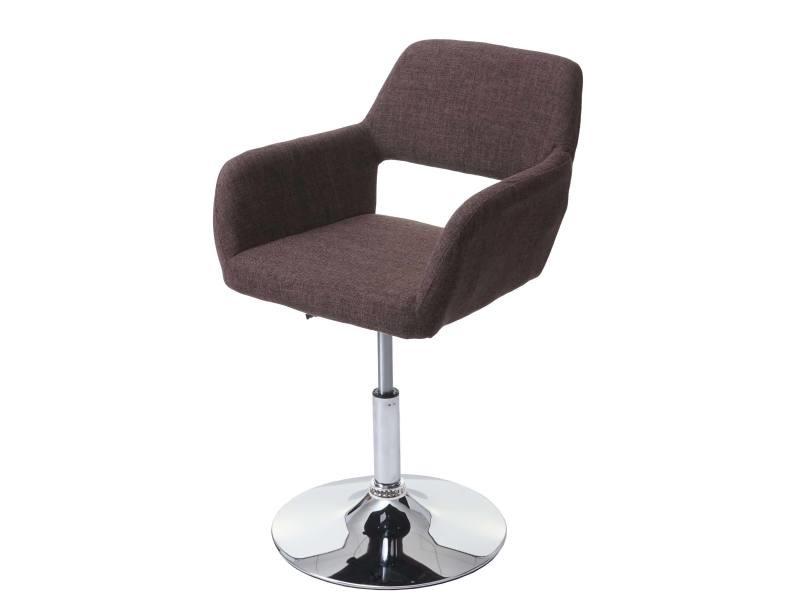 Chaise de salle à manger hwc-a50 iii, style rétro années 50, tissu ~ brun, pied en métal aspect chromé