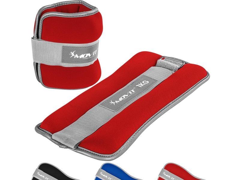 Movit® bandes lestées pour poignets et chevilles 2x0,5kg à 2x3kg, néoprène disponible en noir, bleu ou rouge - couleur : rouge - poids : 2 x 1,0kg