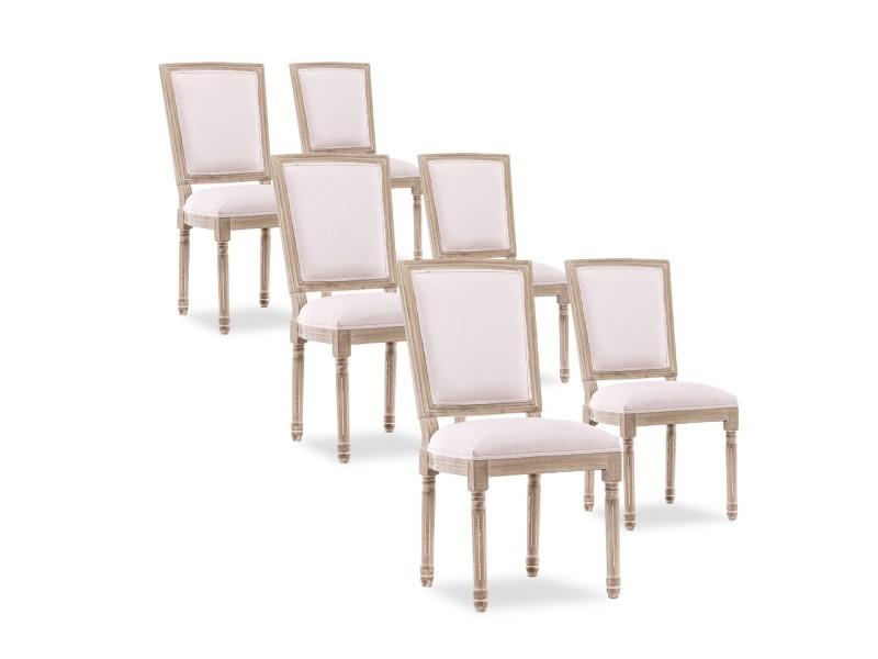 lot de 6 chaises style trianon louis xvi imperiale tissu beige