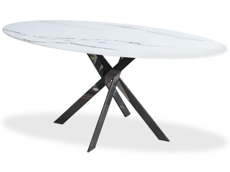 Table greenwich verre effet marbre blanc et pieds noir