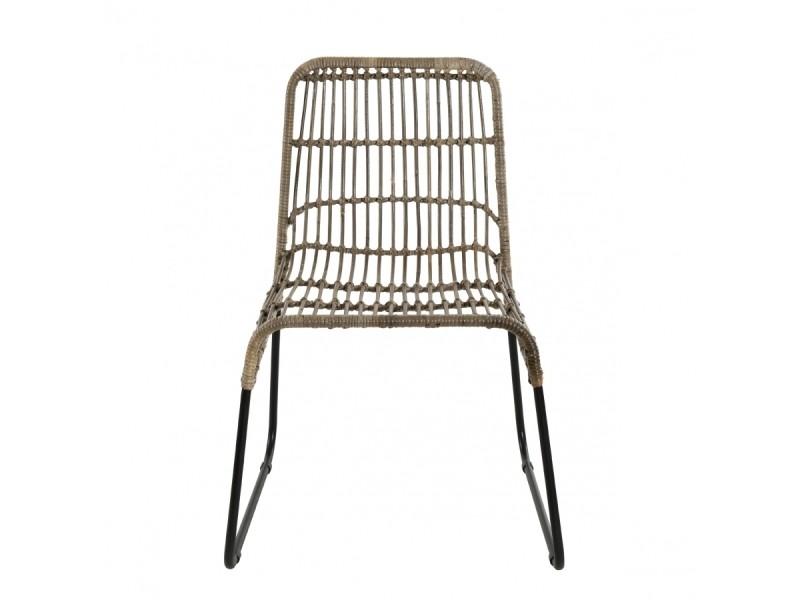 Lot de 2 chaises rotinkubu et métal noir balla Vente de
