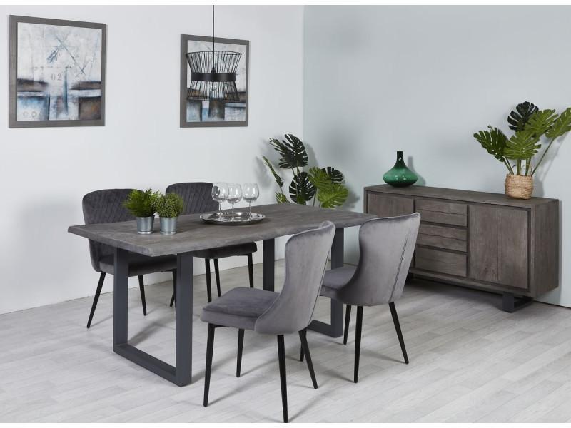 Bobochic table 200 cm awa bois massif acacia et pieds carré en métal gris gris 200