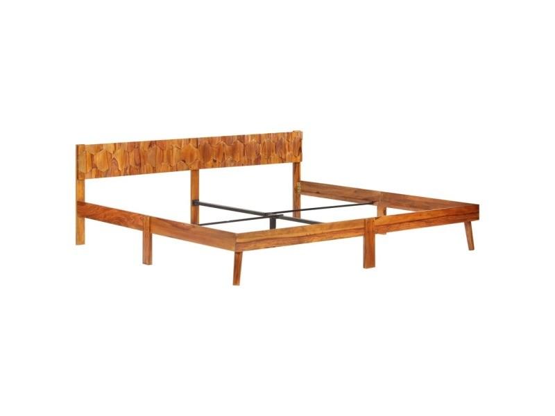 Vidaxl cadre de lit bois massif 200x200 cm cadre 2 personnes