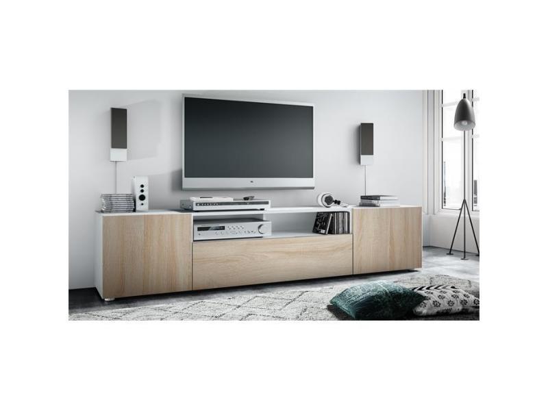 Meuble tv blanc mat / aspect chêne scié