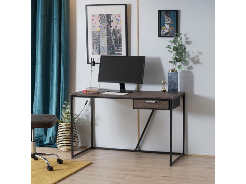 Bureau noyer bois métal noir avec un tiroir