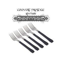 20 fourchettes prestige jetables plastique noir