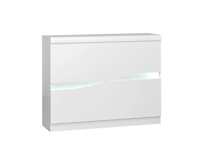 Bar aménagé blanc laqué brillant à leds - pesmes - l 125 x l 36 x h 100 - neuf