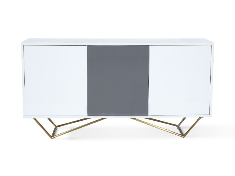 Buffet laqué/acier jazz - blanc/gris/gold