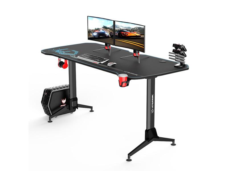 Bureau gamer - furox - 160 cm - noir / bleu - style moderne