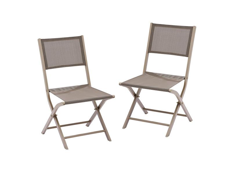 Lot 2 chaises jardin pliantes aluminium et textilène taupe W_603171