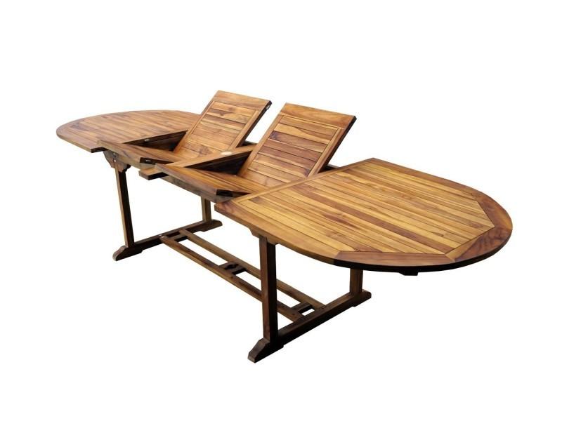 Table de jardin en teck xxl 200-250-300 cm double rallonge - Vente ...