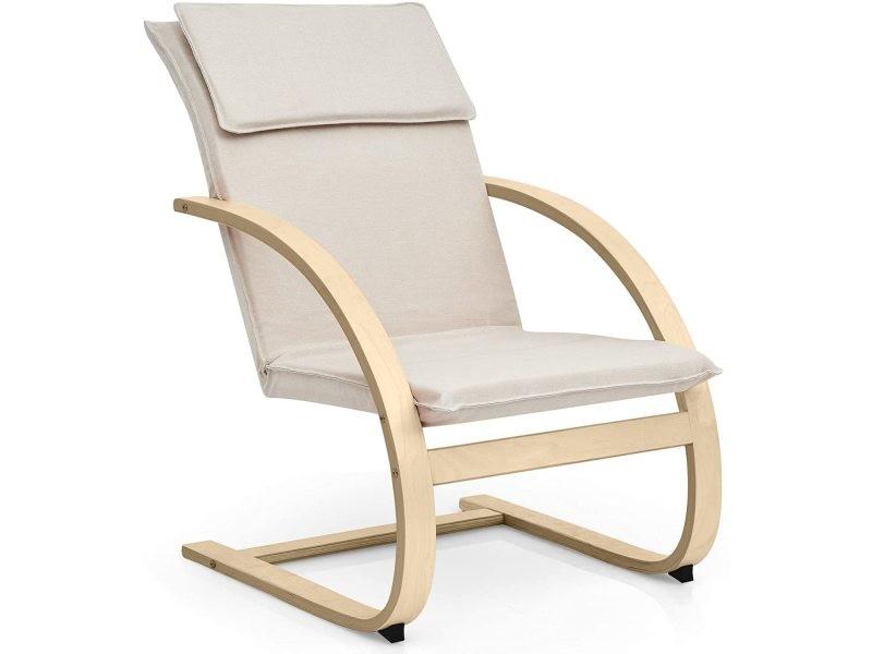 Costway fauteuil berçant en bois de bouleau et éponge avec tissu rembourré, chaise de relax avec coussin et accoudoir courbé ergonomique,chaise longue pour balcon, chambre,jardin, jusqu'à 150kg (beige)