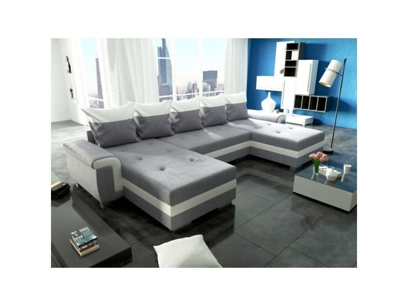 Canapé panoramique convertible opti u gris blanc