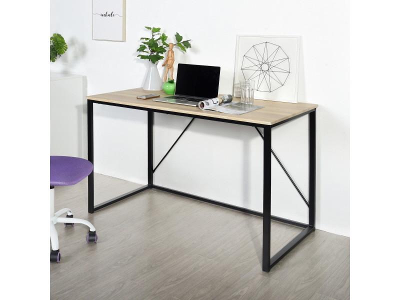 Bureau chêne noir simple scandinave bois métal 120*60