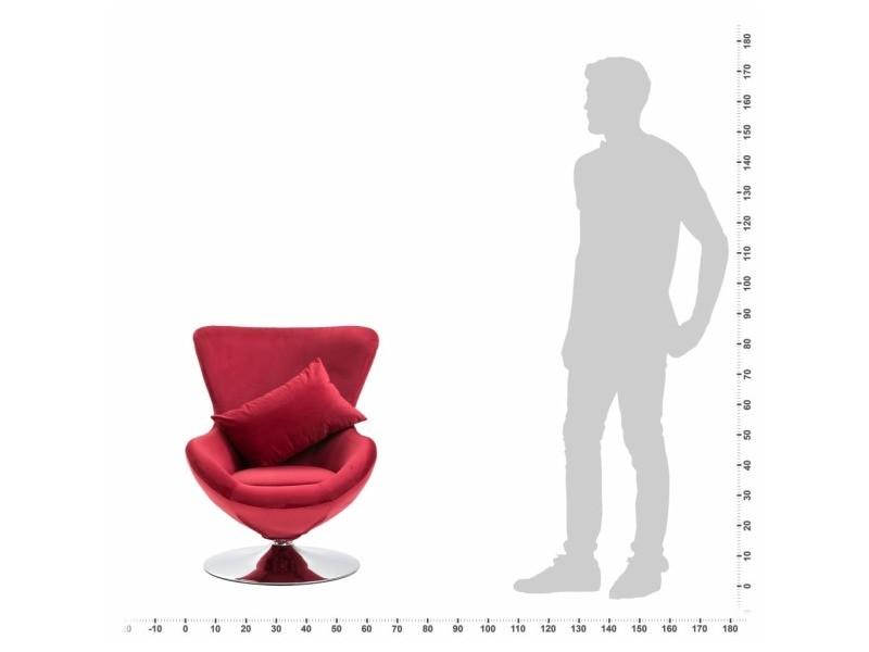 Vidaxl fauteuil pivotant en forme d'œuf avec coussin rouge velours