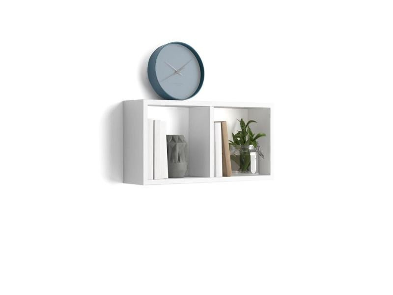 Mobili fiver, cube mural 59x30 cm, first, en mélaminé, blanc laqué brillant, made in italy