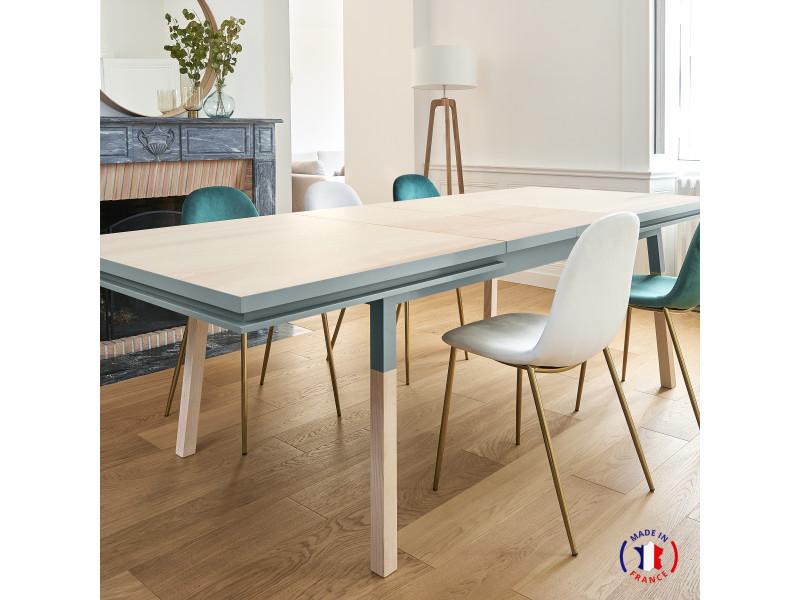 Table extensible bois massif 180x100 cm bleu gris lehon - 100% fabrication française