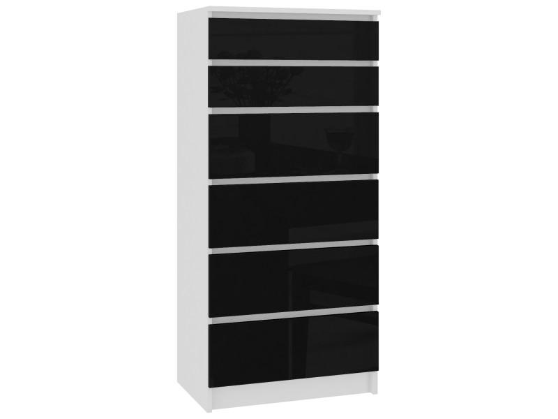 Skandi | commode contemporaine chambre + salon + bureau 130x60x40 cm | 6 tiroirs | meuble design moderne | chiffonier | blanc/noir laqué