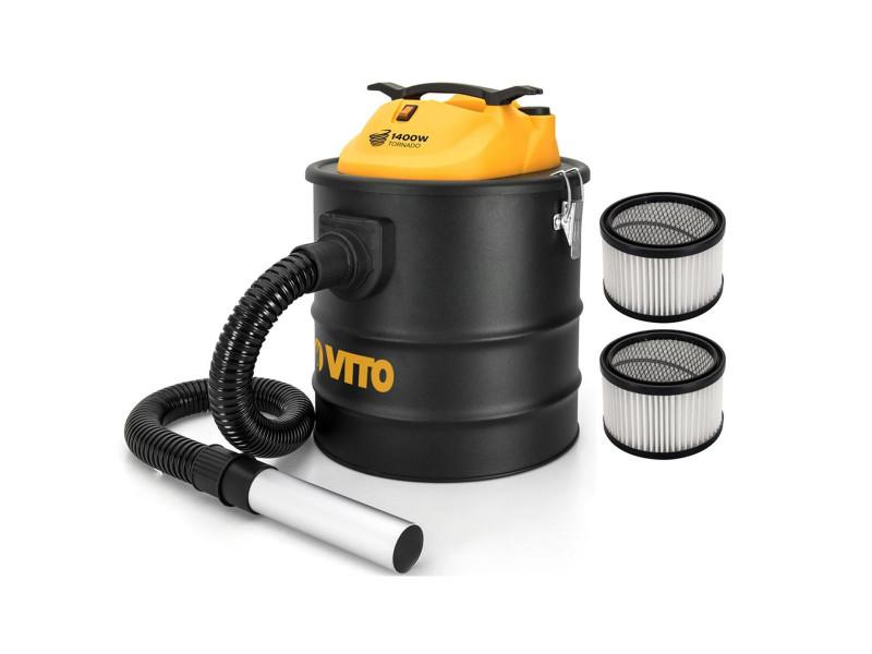 Aspirateur de cendres vito 1400w tornado 18l + 2 filtres hepa poêles cheminées jusqu'à 50°c souffleur auto nettoyage du filtre