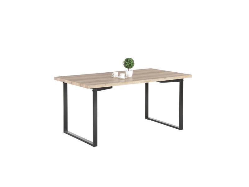Table de salle à manger design métal et bois coloris chêne/noir meredith