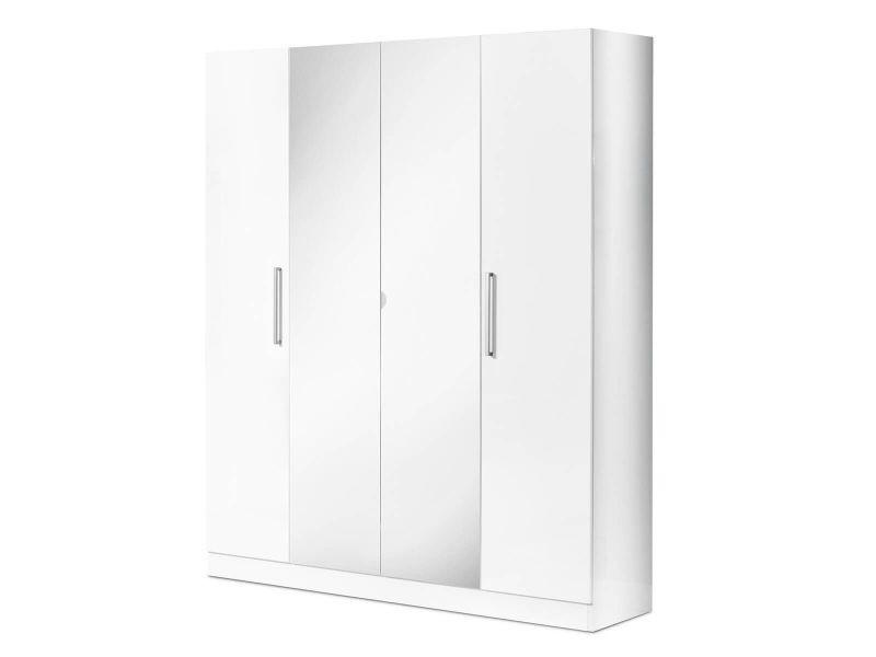 Vinia blanche - armoire 4 portes avec miroir central