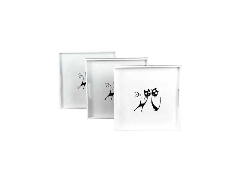 Set de 3 plateaux carrés laqués paris by cat - blanc casse - mm
