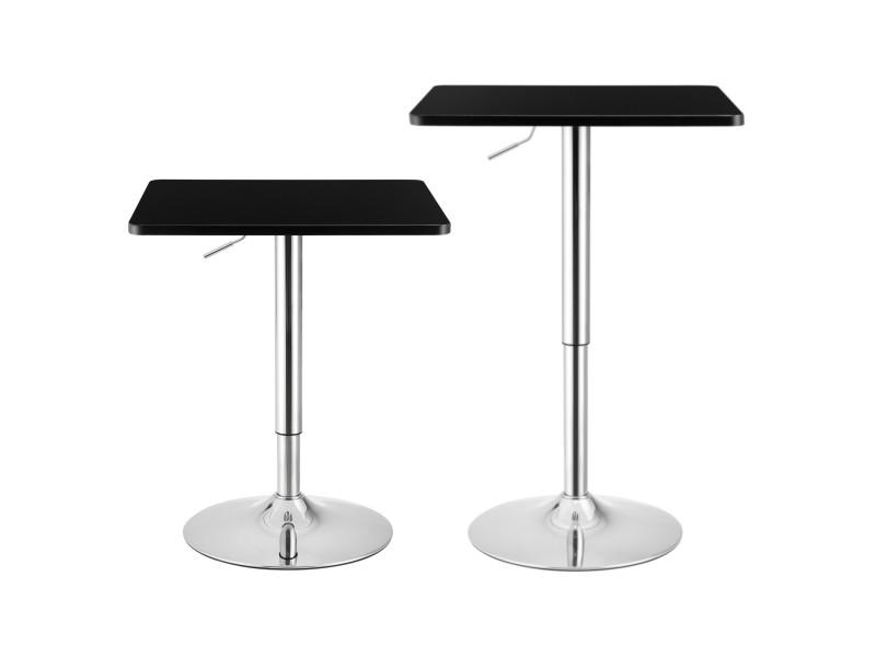 Table de bar carrée bistrot design robuste à hauteur réglable mdf chrome 60 x 60 cm noir [en.casa]