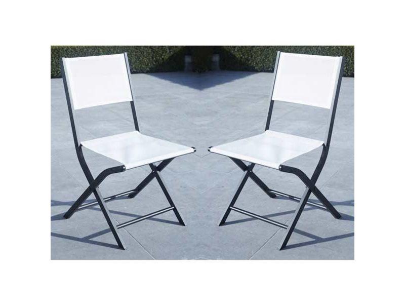 Lot 2 chaises jardin pliantes aluminium et textilène noir et blanc W_600089