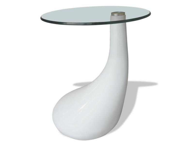 Table basse de salon salle à manger design blanche verre diamètre 42 cm helloshop26 0902007