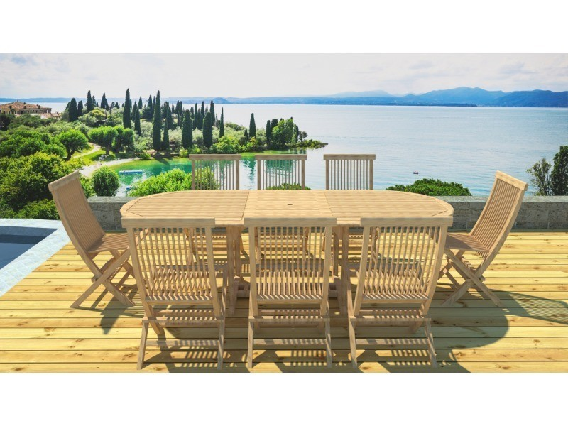 Salon de jardin teck 8 places 8 chaises - Vente de LYNCO - Conforama