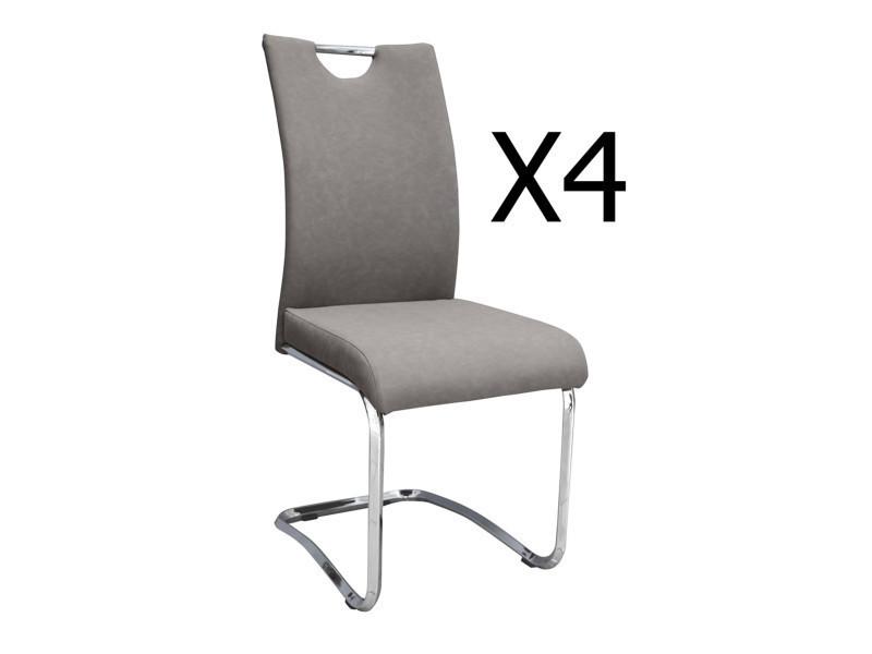 Lot de 4 chaises coloris gris / chromé - dim : 430 x 570 x 960 mm - pegane -